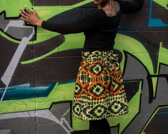 Kitenge Print Wrap Skirt (Mary S-3)
