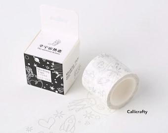 Black & White Object Pattern Japanese Washi Tape Masking Tape