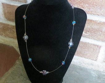 Beaded Illusion Necklace – Blue and Purple Floral