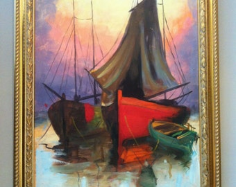 Antique Seascape oil painting Canvas on Board Boats Signed DORA MPOUKI 1930c