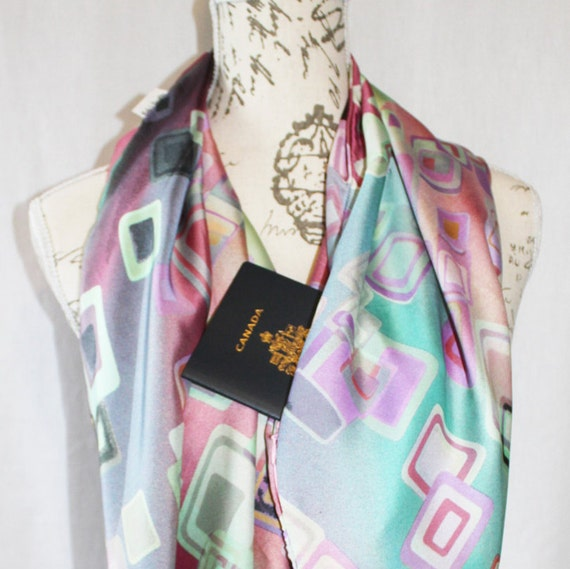 Printed Satin Infinity Scarf With Hidden Zipper Pocket