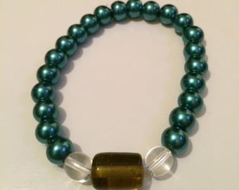 Green and Brown Beaded Bracelet