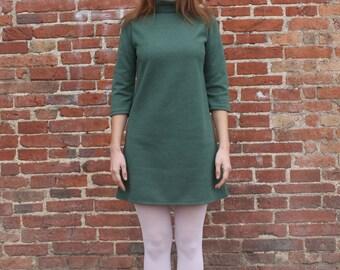 Sixties Dress, Sixties Mini Dress, Green Sixties Dress