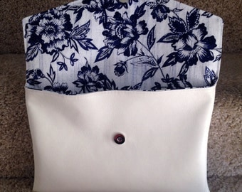 Medium White Clutch with Blue Flowers