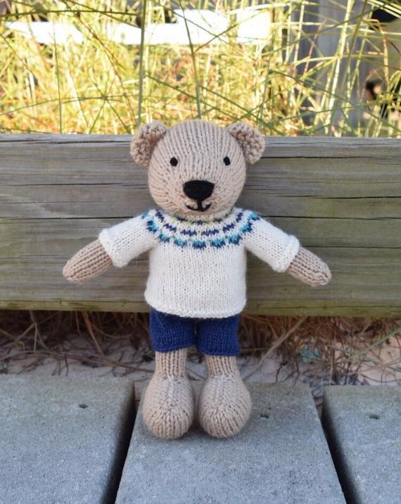 Knitting Patterns Teddy Bear Stuffed Animals : Knitted Teddy Bear Knit Toy Knit Stuffed Animal Wool Toy