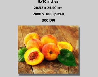 Instant Download, 8x10 in, Fresh Summer Peaches Fruit Painting Art Print (1029) Wall Decor Print At Home