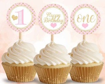 Pink and Gold cupcake toppers, First Birthday cupcake toppers, Printable cupcake toppers, Digital File.