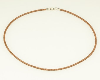 braided leather • 2, 5mm Ø • washer • for silver pendants • silver