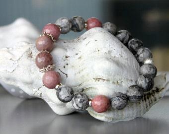 Rhodonite Labradorite Sterling Silver Bracelet, Silver Jewelry, Beaded Bracelets, Faceted Gemstones, Gift shop, Rhodonite Jewelry, Soft Pink