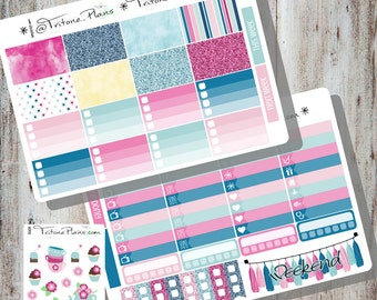 Tea Party    Weekly Sticker Kit for SewMuchCrafting Wo2P Personal size inserts    WK005-smcPe