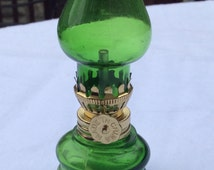 Vintage Miniature Green Glass Hurricane Oil Lamp