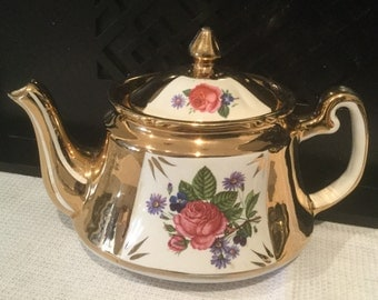 Vintage Price Kensington Teapot Made in England  Rose Teapot With Gold numbered 3879