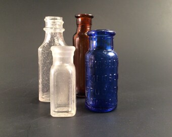 Vintage Apothecary Glass Bottles (4)