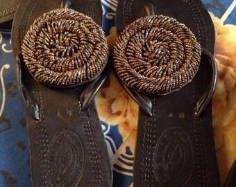 Beautiful handmade beaded Flip Flop sandals