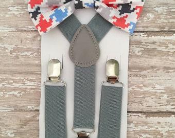Bowtie & Suspender Set/ Shepherd's Check Bowtie/ Houndstooth Bowtie/ Toddler Bowtie/ Red, Gray, Blue Bowtie/Gray Suspender Set/Argyle Bowtie