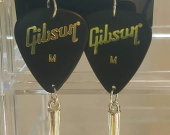 Guitar pick dangle earrings, drop earrings, handmade earrings, made in america