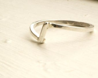 Simple modern ring / Sterling silver ring / Unique silver ring / Minimalist contemporary / Handmade in the US