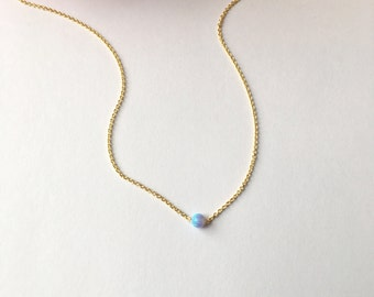 Dainty Opal Gold Necklace.