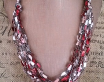 Burgundy and Silver Multi Strand Crocheted  Ladder/Ribbon Yarn Necklace