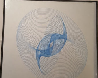 """Blue harmonograph rendering.. framed original 8""""x8"""".. Not computer generated"""
