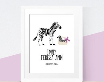 Personalised New Baby Zebra Art Print for Nursery