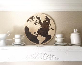 Stained Birch Wood Round World Map with Dark Stain