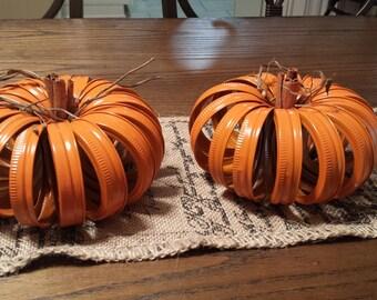 Mason Jar/ canning lid Pumpkin - Thanksgiving/Halloween Decoration