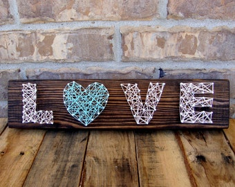 Rustic Wood Nail and String LOVE Sign String Art