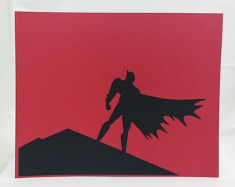 "Batman Inspired Cut Paper Silhouette Portrait 8"" x 10"" Cut Out Art Portraits"