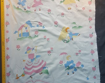 Nursery Rhyme Panel, Comforter, Quilt, Mother Goose, Jack and Jill, Little Bo Peep, Fabric Craft Panel, DIY, OOP, Out of Print, Pastel