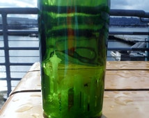 Cut wine bottle glasses with Seattle skyline etching