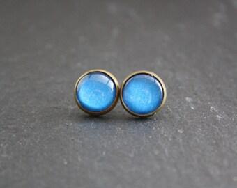 """Cabochon earrings """"Blue"""" 12 mm"""