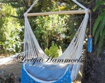 Beige and blue light chair hammock handwoven /Swing chair_Cotton beige /Handmade in Nicaragua/Home decor_