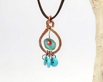 Copper pendant Copper patina jewelry Boho pendant gift Color pendant Patina jewelry Blue necklace Form pendant Blue patina pendant gift