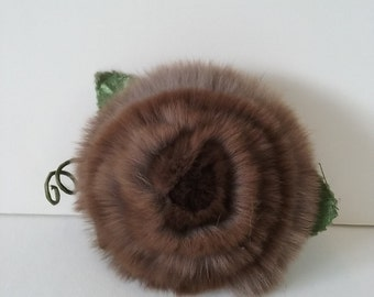WEIRD Vintage Fur Rose Brooch Handmade