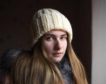 Milky knitted hat/ Slouchy woolen hat/ Women's hat/ Knitting handmade accessories/ Gift for her/ Basic hat