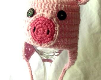 Crochet Baby Pig Hat