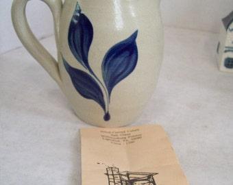 Vintage Williamsburg Pottery Pitcher Vase Blue Salt Glaze Design FREE SHIPPING