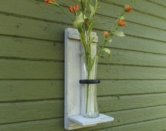 Rustic Wall Vase Sconce. Wood Wall Sconce. Vase Sconce. Rustic Sconce. Wall Sconce. White Sconce. Farmhouse Decor. Flower Wall Sconce.