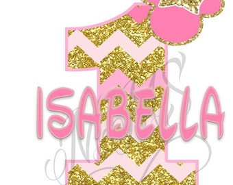 Minnie Mouse Pink Birthday Gold Glitter Heart 1st 2nd Birthday Iron On Digital Art Graphic Party
