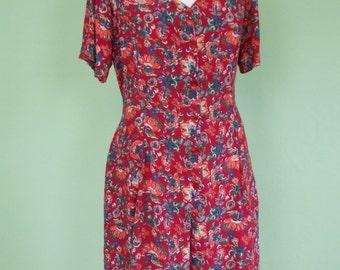90s jumpsuit / size L / short / vintage / flower print