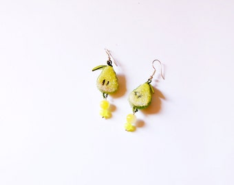 Resin pear drop dangle, fruit jewelry, gift for her, lime jewelry green dangle women gift, Summer garden dangle gift food jewelry