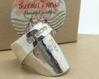 Antique sterling silver spoon ring recycled English hammered Art Deco 1925