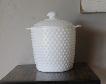 Milk Glass Ice Bucket With Lid, Hobnail Ice Bucket, Vintage Milk Glass Hobnail Ice Bucket