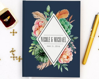 Wedding Guest Book Personalized Gold Guest Book Gold Guestbook Custom Guestbook Vintage Guest book Script Guest Book Navy