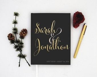 Real Gold Foil Wedding Guest Book Gold foil Guest Books Custom Guestbook Modern Wedding Script Wedding- Black