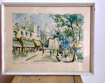 No print. Original Watercolor Place du Tetre Paris, painting, 60s or 70s