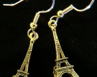 Eiffel Tower Earrings 24 Karat Gold Plate I Love Paris France EG500