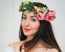 Bridal floral crown , Flower headband, Bridal headband ,Peony flower crown,Flower wreath ,Pink Floral crown ,Boho floral crown