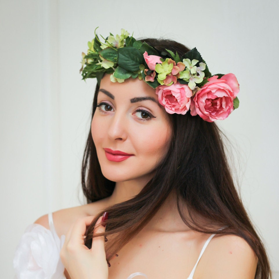 Bridal Floral Crown Flower Headband Bridal Headband Peony